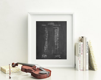 Oboe Patent Poster, Music Room Wall Art, Symphony, Band Director, Music Room Decor, Musician Gift, PP0247