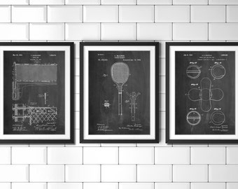 Tennis Patent Posters Group of 3, Tennis Wall Art, Coach Gift, Vintage Tennis, Sports Decor, PP1172