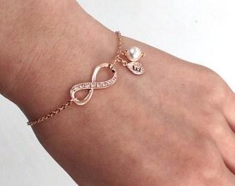 Rose Gold Infinity bracelet, Pink Gold Infinity bracelet, Personalized bracelet, initial bracelet, Bridesmaid gifts, friendship bracelet