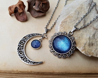 2 Sun and Moon Necklaces, friendship necklaces, best friends jewelry, best friends necklaces, sun and moon jewelry, moon necklace, Galaxy