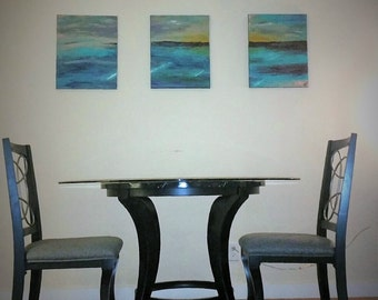 ORIGINAL Acrylic/Plaster Abstract Oceanscape Triptych