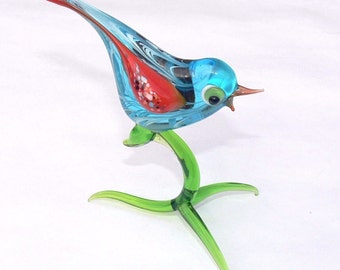 Lampwork Glass Art Murano Glass BIRD Perfect Gift for home or garden Standing figurine