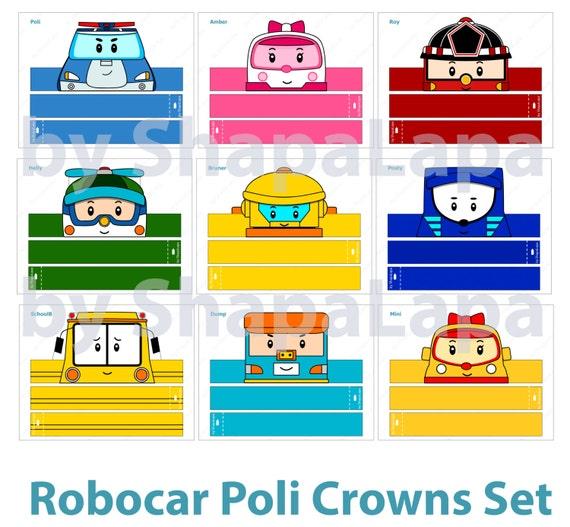 poli robocar paper crowns set 11 diy crowns by shapalapa. Black Bedroom Furniture Sets. Home Design Ideas