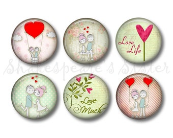 Love Magnets - Fridge Magnets - 6 Magnets - 1.5 Inch Magnets - Kitchen Magnets