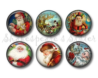 Vintage Santa Magnets - Fridge Magnets - Vintage Christmas - 6 Magnets - 1.5 Inch Magnets - Kitchen Magnets