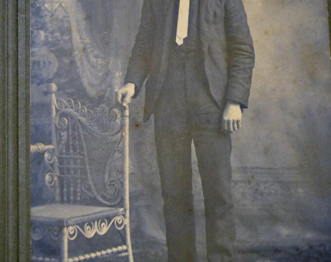 Vintage Photo Black and White Picture Portrait Man Photograph Studio Prop Display PanchosPorch