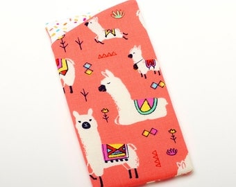 Llama Sunglass Holder, Cute Glasses Sleeve, Eyeglasses Case - Coral Llama Gifts - Llama Bag