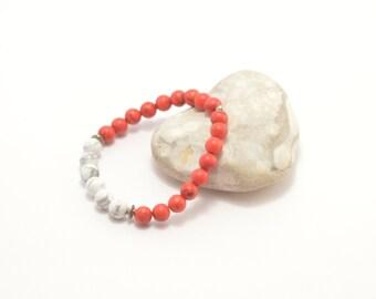 Howlite bracelet, red white bracelet, stone bracelet, beaded bracelet, howlite jewelry, stone jewelry, beaded jewelry, red white jewelry