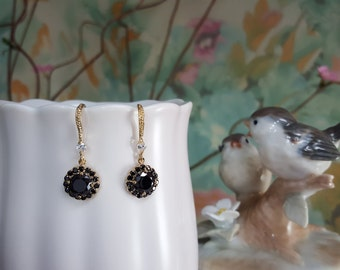 Black CZ Earrings, Black Tie Earrings, Gold and Black Earrings, Formal Wedding Jewelry, Black CZ Drops, Black Prom Earrings, Goth, E2460