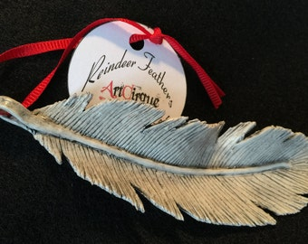 Reindeer Feather Christmas Ornament Large Polymer Clay