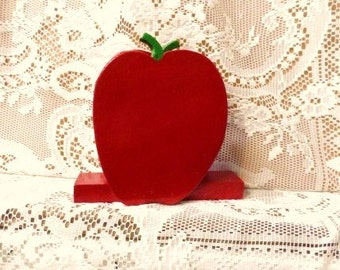 RED APPLE Napkin Holder-Handmade Wooden Letter Holder-Vintage Wood Crafts-Farm Chic Decor-Kitchen Table Display-Orphaned Treasure-092116H