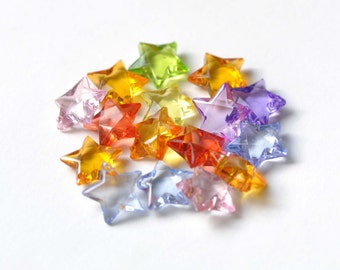 Acrylic Star Beads Faceted Star Charms Mixed Color Size 15mm Set of 30 A8343