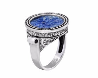 Sterling Silver Ancient Blue Roman Glass Braded Wire Round Stylish Big Ring