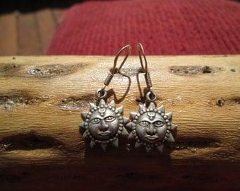 Sterling Sunface Dangle Earrings