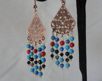 Gorgeous Copper Triangle Gemstone Chandelier Earrings*****.