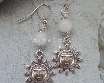 Winter Soltisce Sun & White Jade Gemstone Bead Earrings
