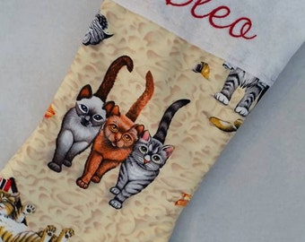"""18"""" Personalized Christmas Stockings Monogrammed Cat Stocking"""
