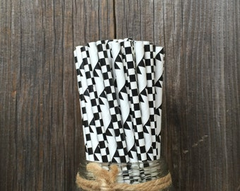 100 Black and White Checked and Banner Patterned Paper Straws - Birthday Party or Race Party Supply, Free Shipping!