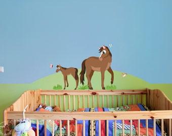 "Wall decal ""Horses""  foal horse girl nursery wall art"