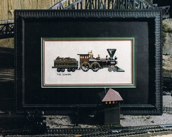 CROSS STITCH PATTERN - Train Cross Stitch - The General Locomotive Cross Stitch - Antique Steam Engine