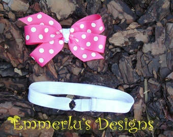 Hot Pink and White Polka Dot Hairbow with an Adjustable and Interchangeable Elastic Headband - 2 Piece Set
