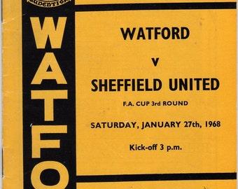 Vintage Football (soccer) Programme - Watford v Sheffield United, FA Cup, 1967/68 season
