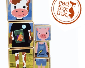 Farm animal wooden block puzzle: Cow, Horse, Pig, Chicken, Sheep and Dog