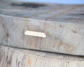 Roman Numeral 14kt Gold filled/ Bar Necklace, Gold Bar Necklace,  Initial necklace, Hand stamped,  Nameplate Necklace, Bridesmaid