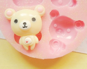 25mm Bear Animal Flexible SIlicone Mold - Decoden Stampi Kawaii Sweets Resin Fimo Paper Polymer Clay Sculpey Wax Soap Charm Cabochon