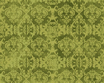 Damask Style Fabric - Feather Your Nest by Nancy Mink for Wilmington Prints Fabric - 33783 777 Green - Priced by the half yard