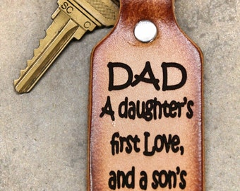 DAD KEYCHAIN, a son's first hero, daughter's first love, dad keychain, dad gift, leather key chain, Gift Boxed, Made in the USA