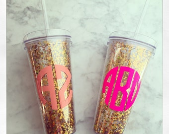 Personalized 22oz Acrylic Double Wall Tumbler w/Straw {Gold Confetti}
