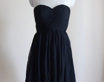 Black Sweetheart Short Bridesmaid Dress Black Strapless Chiffon Bridesmaid Dress