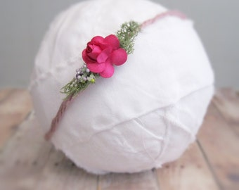 Spring Organic Newborn Tieback   Fairy Halo   Boho Flower Headpiece   Earthy Headband   Newborn Photo Prop