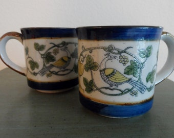 2 VTG Stoneware Mugs Pheasants Yellow Blue Green Boho Chic Coffee Mugs Tea Mugs