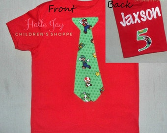 Super Mario Bros. Birthday Jersey Tie Applique Shirt