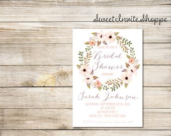 Boho Floral Bridal Shower Invitation, Watercolor Floral Wreath Bridal Invitation, Watercolor Flowers Invitation, Bohemian Shower Invitation