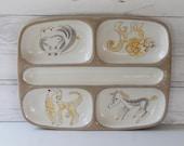 Mid Century Modern Glidden Whimsical Ernest Sohn Menagerie Pottery Divided Tray Dish, Vintage Glidden Menagerie Art Pottery