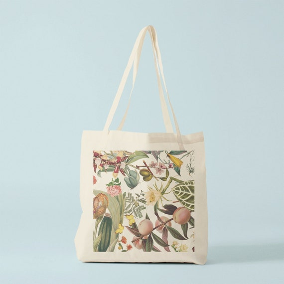 Tote bag Botany III, canvas bag, groceries bag, yoga bag, novelty gift for coworker, gift for best friend, gift for women, gift for wedding.