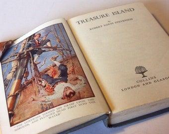 Treasure Island, Classic Childrens 1950s Book Robert louis Stevenson Vintage old Book Blue Hardback