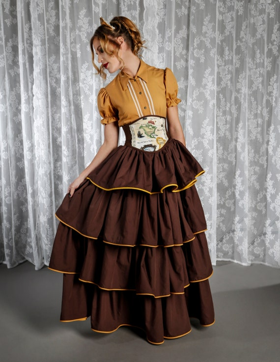 Steampunk Skirts | Bustle Skirts, Lace Skirts, Ruffle Skirts Victorian Skirt Steampunk Skirt Brown Skirt with Tan Trim Ruffle Skirt Woodland Costume Layered Skirt Maxi Skirt Alternative Wedding $104.45 AT vintagedancer.com