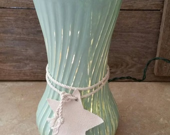 Mint Green Night Light, Upcycled Lighting, Plug in Nightlight, Green Bathroom Decor, Vase Decor, Cottage Style, Light Accents