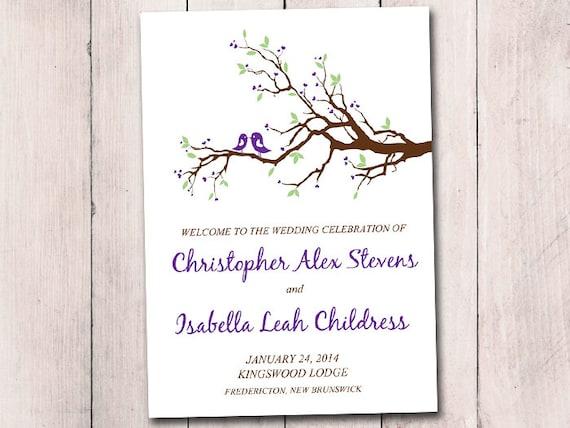 Half Fold Wedding Program Template Love Bird Ceremony
