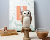 Barn Owl Needle Felting Kit - Barn Owl Craft Kit - craft set gift - felt barn owl project - barn owl craft kit for adults - textiles project