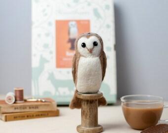 Barn Owl Needle Felting Kit - Barn Owl Craft Kit - craft kit gift - felt barn owl project - barn owl craft kit for adults - textiles project