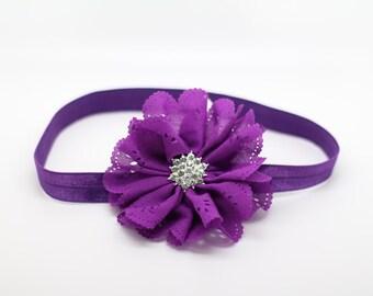 purple Headband, purple Flower Headband, purple Flower Girl Headband, purple Birthday Headband, purple clip,purple baby headband,purple clip