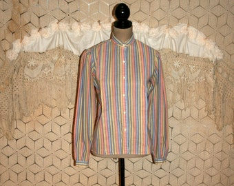 70s 1970s 80s 1980s Vintage Levi Strauss Womens Shirt Levis Blouse Puff Sleeves Striped Shirt Size 6 Size 8 Small Medium Womens Clothing