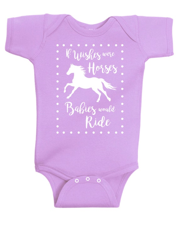 If Wishes Were Horses Baby Horse Onesie, Infant Baby Shower Gift for Girls, Lavender or Pink Equestrian Clothing