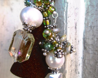 Handmade Earrings with Freshwater Pearl. Whimsical Swamp Earrings