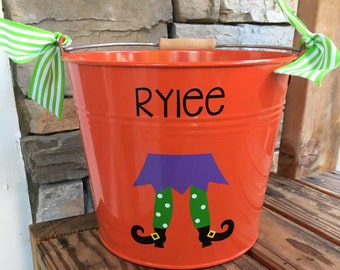 5 quart Personalized Halloween buckets/pails
